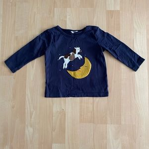 Baby Boden Navy Cow Over Moon Shirt 12-18 Months